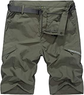 XinDao Men's Outdoor Hiking Shorts Summer Super Lightweight Quick Dry Belted Cargo Shorts with Multi Pockets