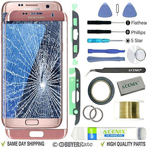 ACENIX® - Kit de reparación de lente de cristal frontal exterior para Samsung Galaxy S7 Edge, color oro rosa + cinta de 2 mm y herramientas de apertura