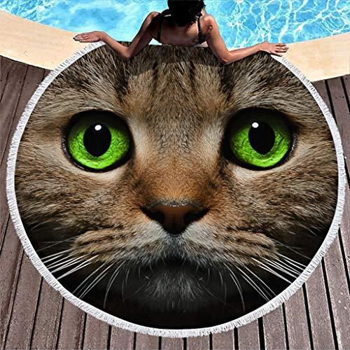 Yzanswer Manta circular de ojos verdes de gato con borlas para niñas niños mujeres blanco 150 cm