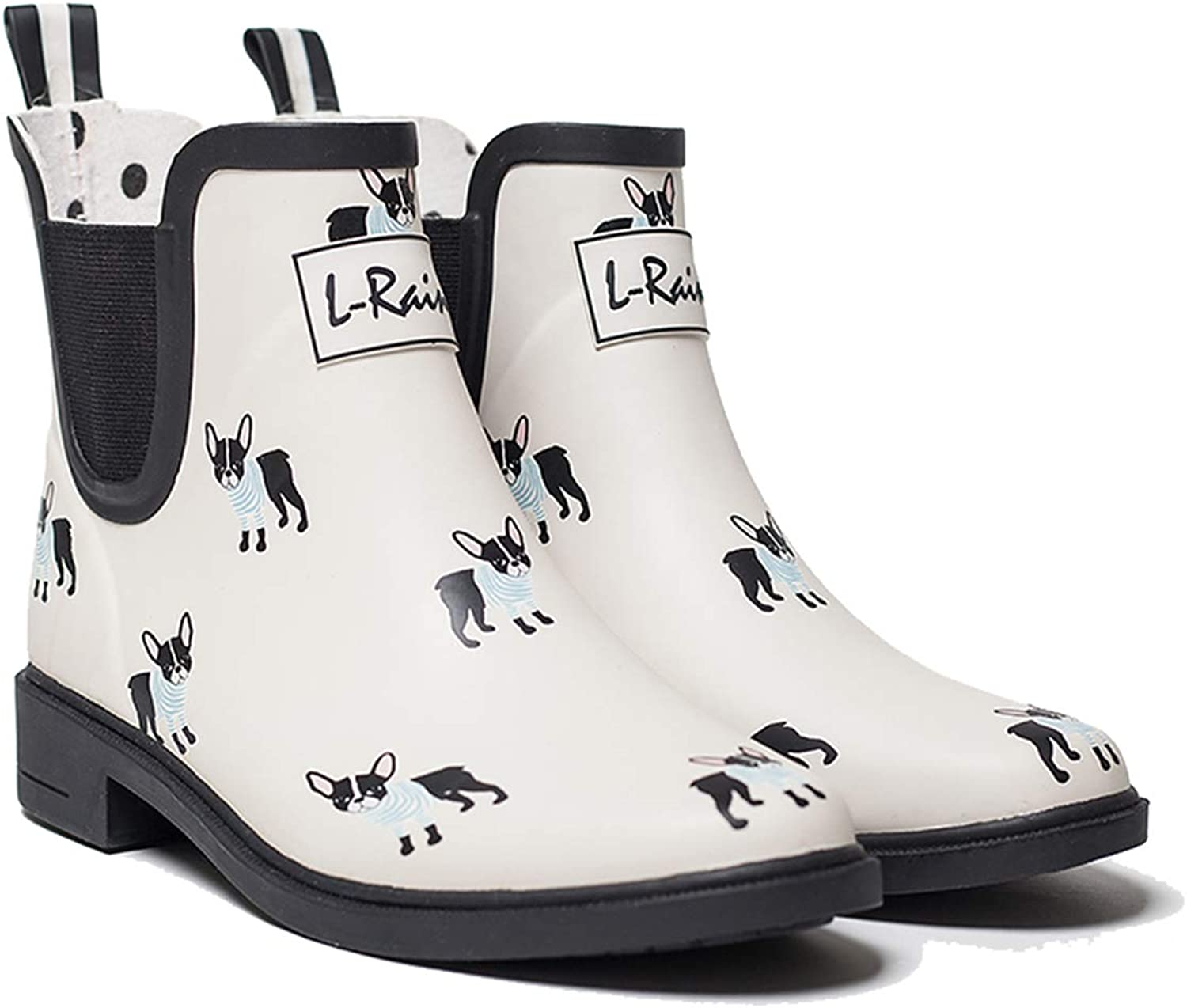 L-Rain LR Women's Short Rain Boots Waterproof and Anti-Slipping Rain shoes Chelsea Booties-White French Bulldog-Size 6