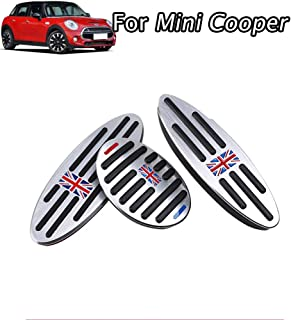 aluminium alloy Pedal Covers,No Drilling Accelerator Pedals Brake Foot Pedal Pads with Rubber Pull Tabs 3 pieces/set(Union Jack color) for MINI Countryman,Clubman, Roadster,Hatch,Paceman, 2010-2018