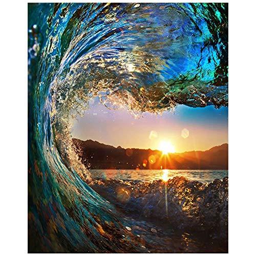 TAHEAT DIY Ölgemälde nach Zahlen Landschaft, Leinwand Ölgemälde Sonnenuntergang Seelandschaft für Erwachsene und Zeichnung Anfänger Malen nach Zahlen mit Pinseln ohne Rahmen 16 x 20 Zoll