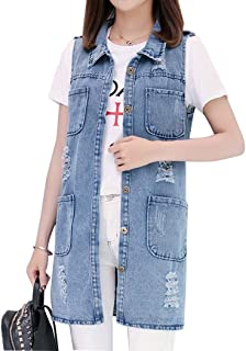 Hixiaohe Women's Mid Long Lapel Denim Vests Sleeveless Jean Jacket with Pockets