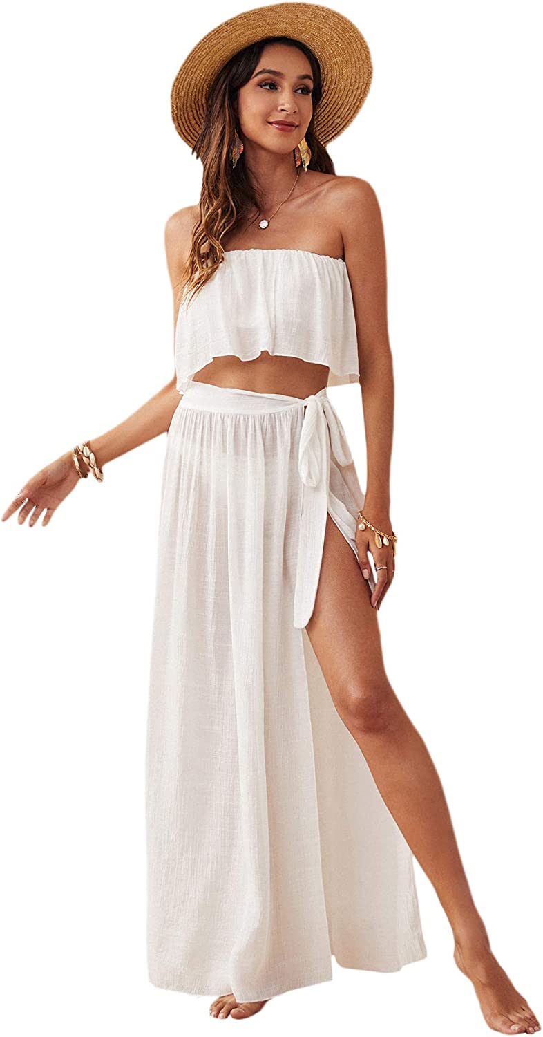 Verdusa Women's 2 Piece See Through Bandeau Top and Tie Side Long Skirt Cover Up Set