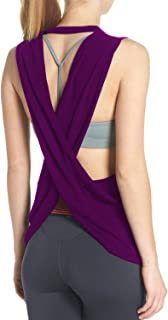 Fihapyli Women's Yoga Top Cross Back Workout Clothes Sleeveless Running Blouse