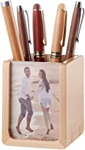 Wooden Pen Holder with Photo Frame,Desk Stationery Organizer, Maple Handmade Pencil Holder with 2 Photo Frames, Tang-1053