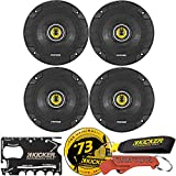 KICKER CS Series CSC5 5.25-Inch Car Audio Speaker with Woofers, 4-Pack Bundle with Kicker Swag Bag. Extended Voice Coil EVC Tech for Precise Linear Excursion, Large Woofer Magnet for Ultra-Clean Bass