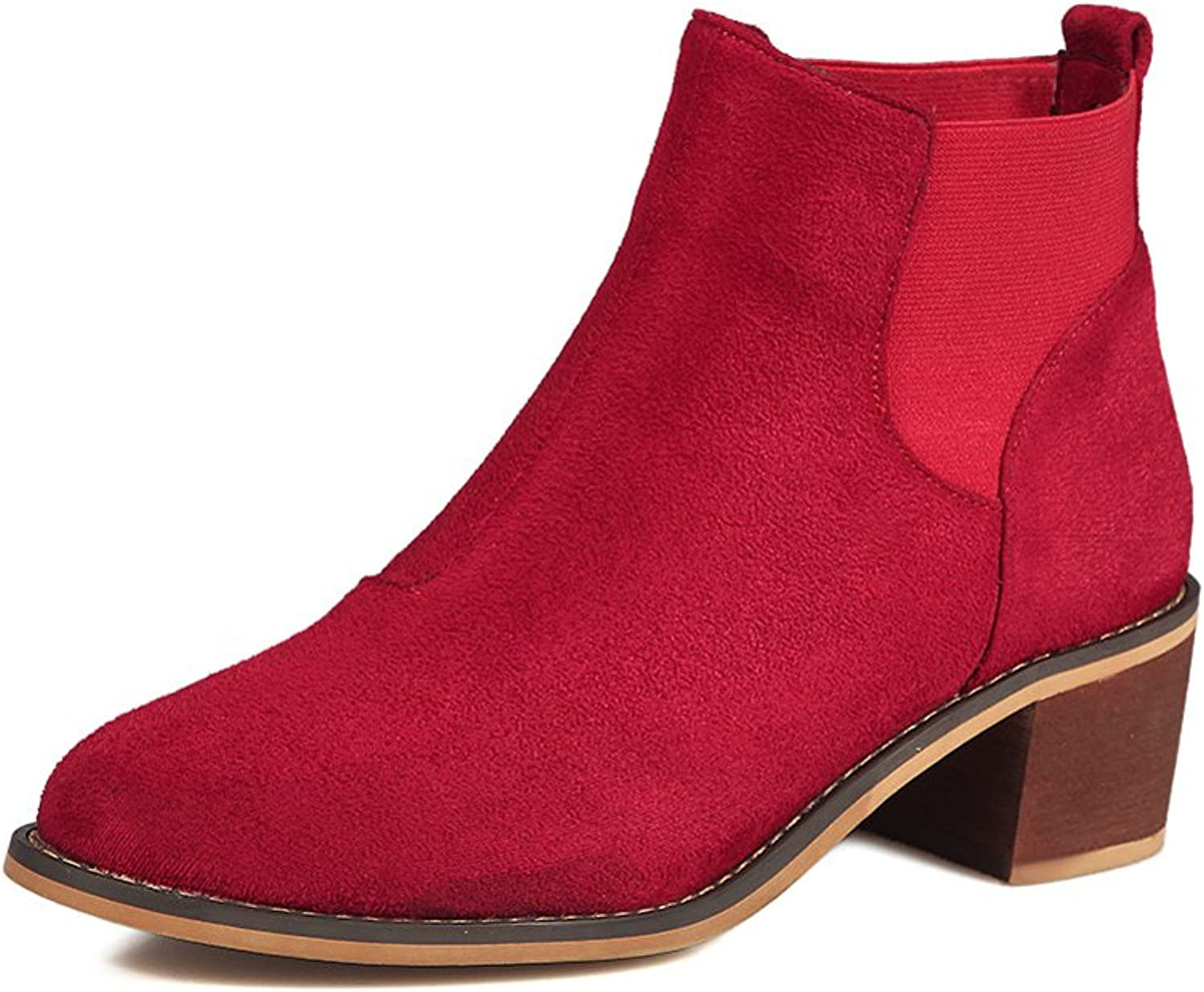 Lucksender Womens Fashion Pointed Toe Chunky Heel Chelsea Boots