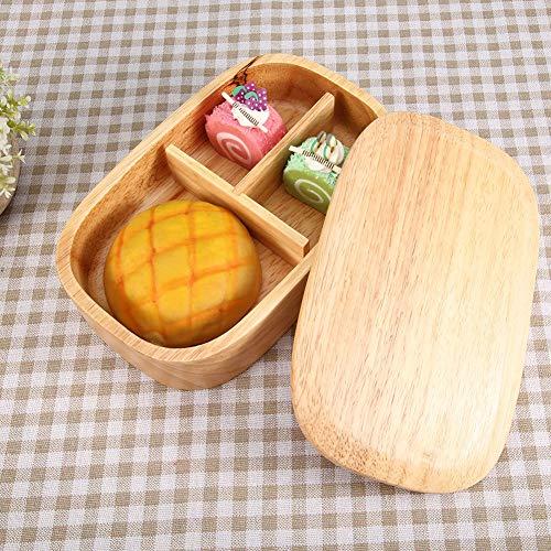 Nikou Fiambrera de Madera, Bento de Madera de Estilo Japonés, Contenedor de Almacenamiento de Alimentos, Caja de Bento Cuadrada de Picnic de la Escuela