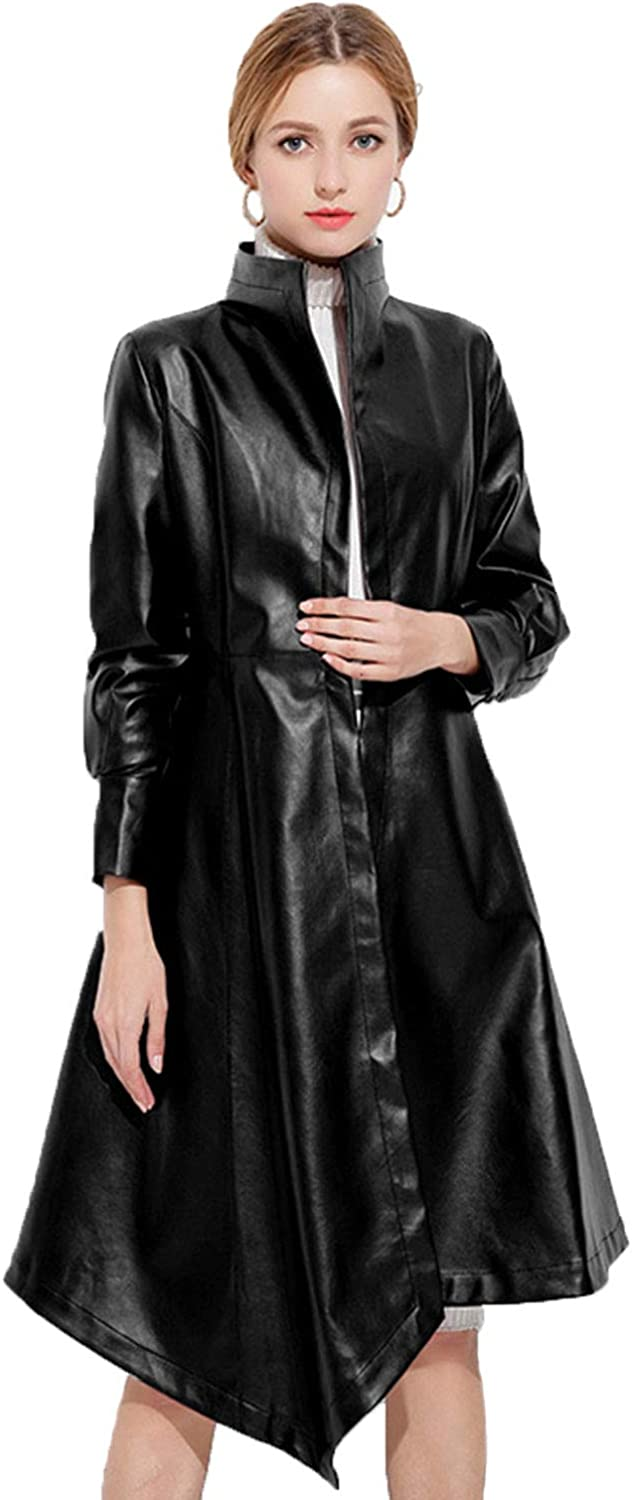 Spring Autumn Leather Jacket for Women,Elegant Long Stand Collar Pure color Slim Coat Ideal for Ladies Girls Daily Outwear