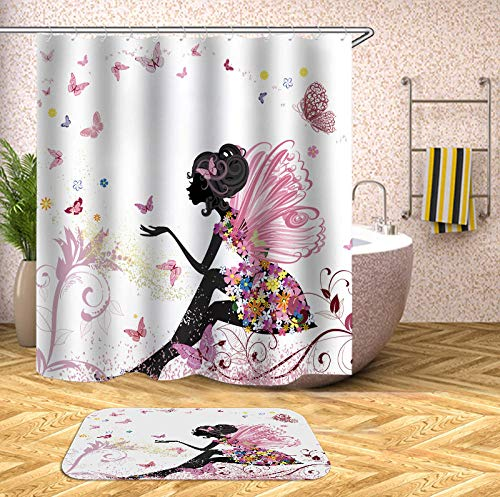 chuanglanja douchegordijn waterdicht anti-schimmel waterdicht douchegordijn gemaakt van polyester en antislip vloermat 180 * 200cm vlindermeisje print