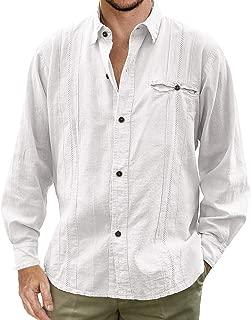 Taoliyuan Mens Cuban Guayabera Shirt Linen Button Down Long Sleeve Casual Relaxed Fit Summer Beach Camp Shirt