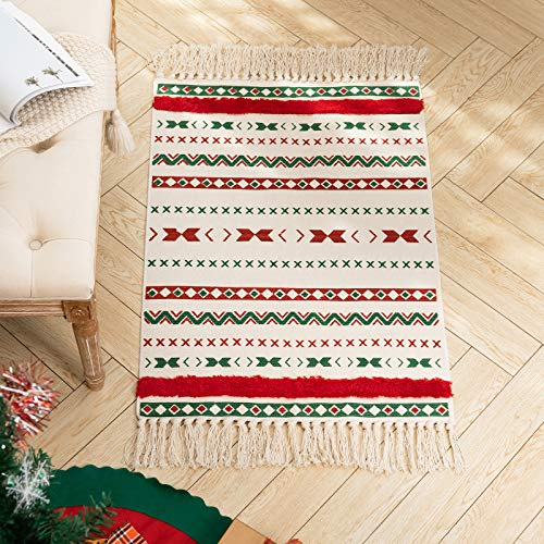 Boho Christmas Tassel Area Rug for Kitchen Living Room Bedroom Bathroom, Cotton Woven Moroccan Tufted Tribal Rug for Xmas Decoration, Farmhouse Décor Small Cute Rug for Girls 2'x3'