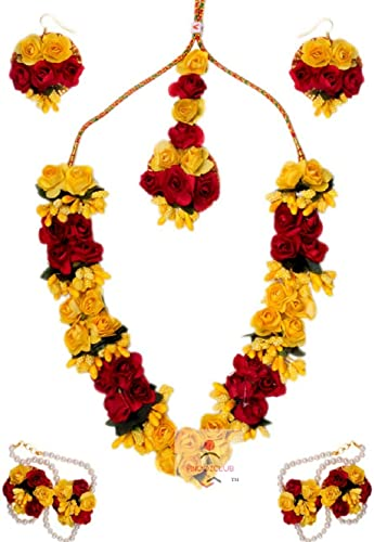 Pinoozclub Red&Yellow Paper Flower Necklace Set for women/girls