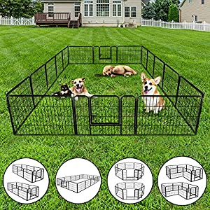 """Nova Microdermabrasion Dog Pen Pet Playpen Kennel Fence Outdoor Indoor Play Yard Puppy Exercise Barrier, 31"""" W x 24"""" H – 16 Panels"""