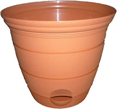 Misco Terra Collection Round Tapered Flared Self-Watering Planter with Ventilated Base, 6-Inch Diameter, Clay