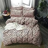 Morbuy Bettwäsche Bettbezug Set 4teilig Hypoallergen Mikrofaser Bettgarnitur Bettwäsche-Set mit Reißverschluss Schließung + 2 Kissenbezüge 1 Bettlaken (220x240cm/2.2M,Leopard)