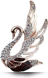 Happyyami Broche Broche Cygne Forme Alliage de Zircon /Épingle /à Poitrine V/êtement Broche Mode /Émail Cristal Strass Corsage pour Femmes Dame Bijoux Cadeau