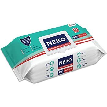 Neko Germ Protection Wipes for Multi-surfaces   Large (200 mm X 200 mm) - Lid Pack (80 wipes)