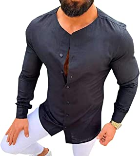 GAGA Men Round Neck Casual Button Solid Color Long Sleeve Tops T Shirt Blouse