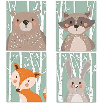 Pinji Set de 4 Posters pour Chambre de Bébé ou d'enfant sans Cadre pour Fille Garçon Poster Animal Impression Art Affiches Décorations Murales