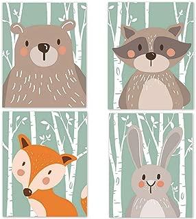 YUENA CARE 4X Cuadros en Lienzo Impresiones sobre Lienzo de Dibujos Animados Hermosos Animales Decorativos para Habitación de Bebés Niños Sin Marcos 21x30cm