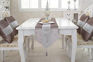 TINWARM Chemin de table à pompons épais en velours chenille satiné avec briques lumineuses pour fête de Noël ou mariage (V...