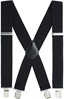 Mens Suspenders, with Heavy Duty Clips 2''Wide X-Back Suspenders for Men