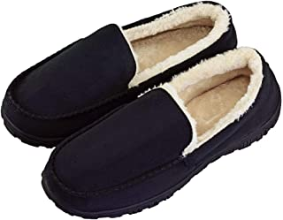 DGrut House Shoes for Men Fluffy Fur Anti-Slip Suede Warm Slippers