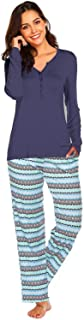 Ekouaer Women's 2 Piece Pajama Sleepwear Set with Pinted Pant Henley Sleep Long Sleeve Tee & Pants Pjs (S-XXL)