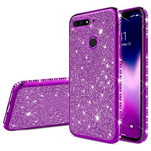 Robinsoni Fodral kompatibelt med Huawei Honor 7A mobilskal glitter kompatibel med Huawei Honor 7A fodral silikonfodral TPU diamant kant bling fodral 360 graders skydd gel telefonskal skal lila
