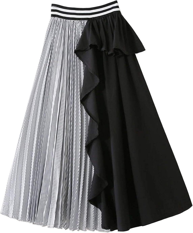 CHARTOU Women's Stretch High Waist Ruffle Pleated Contrast A Line Midi Long Skirt