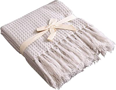 ZotoyaShop Soft Knitted Throw Blanket Bed Sofa Pattern Fringe Waffle Couch Decorative 51x67 Beige