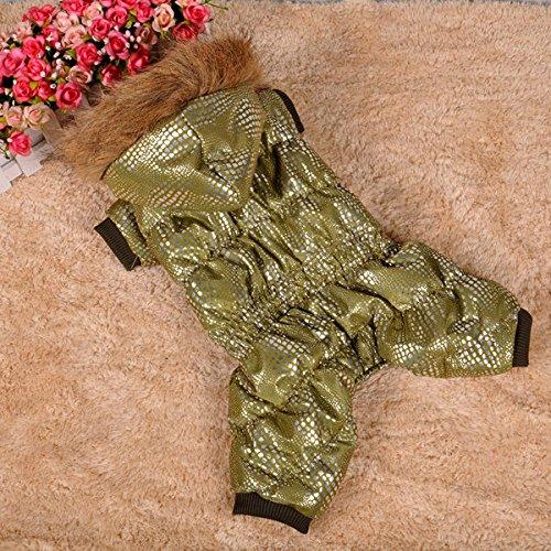 Dobaz Hundeoverall Winter für kleine SCHMALE Hunde Hundeanzug Hundemantel mit Beinen Rückenlänge 38cm gefüttert Kapuze