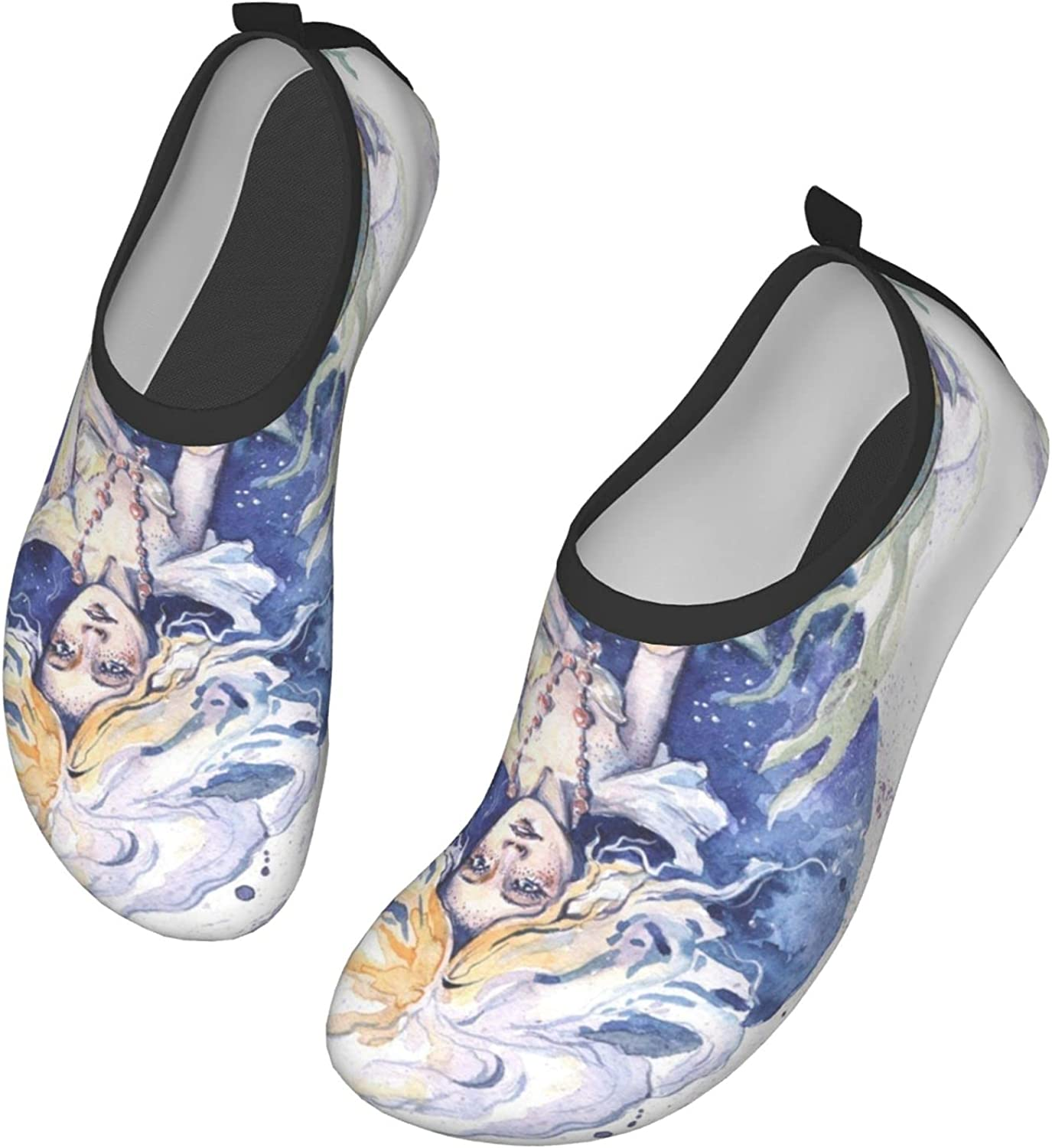 A Mermaid Girl with A Basket of Starfish Water Sports Shoes Barefoot Quick-Dry Aqua Yoga Socks Slip-on for Men Women