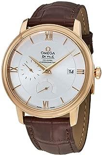 Omega De Ville Prestige Silver Dial 18K Rose Gold Automatic Mens Watch 42453402102001