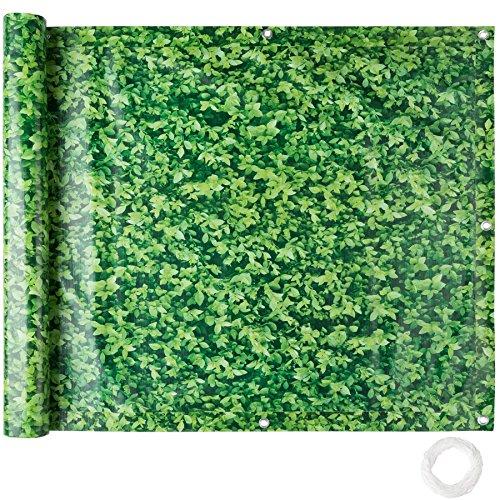 TecTake Balkonbespannung Sichtschutz Windschutz Sichtblende | Witterungsbeständig Größen (grünes Laub 0,9 x 6 m | No. 402711)