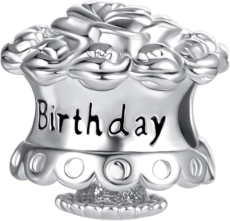DWJSu Happy Birthday Cake Flower Charms for Charm Bracelets Necklace Jewelry for Women