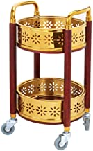 Wózek do serwowania napojów Okrągły stół z litego drewna może przesuwać 2 tace ze stali nierdzewnej Gumowe koło z poręczą ...