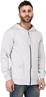 Finger's Men's Basic Fleece Zipper Sweatshirt with Hood and Kangaroo Pocket