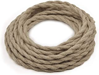 HESSION 32.8ft 18/2 Twisted Electric Rope Light Cord, Antique Industrial Electrical Wire,Natural Hemp Rope Covered Wire Vintage Style Lamp Cord Strands