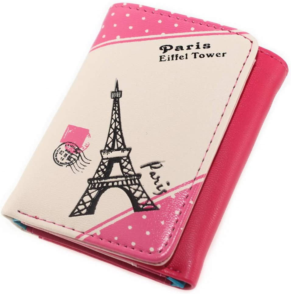 Fees free!! Paris Effiel Tower Cartoon PU Leather Coin Pur Wallet Industry No. 1 Small Cash