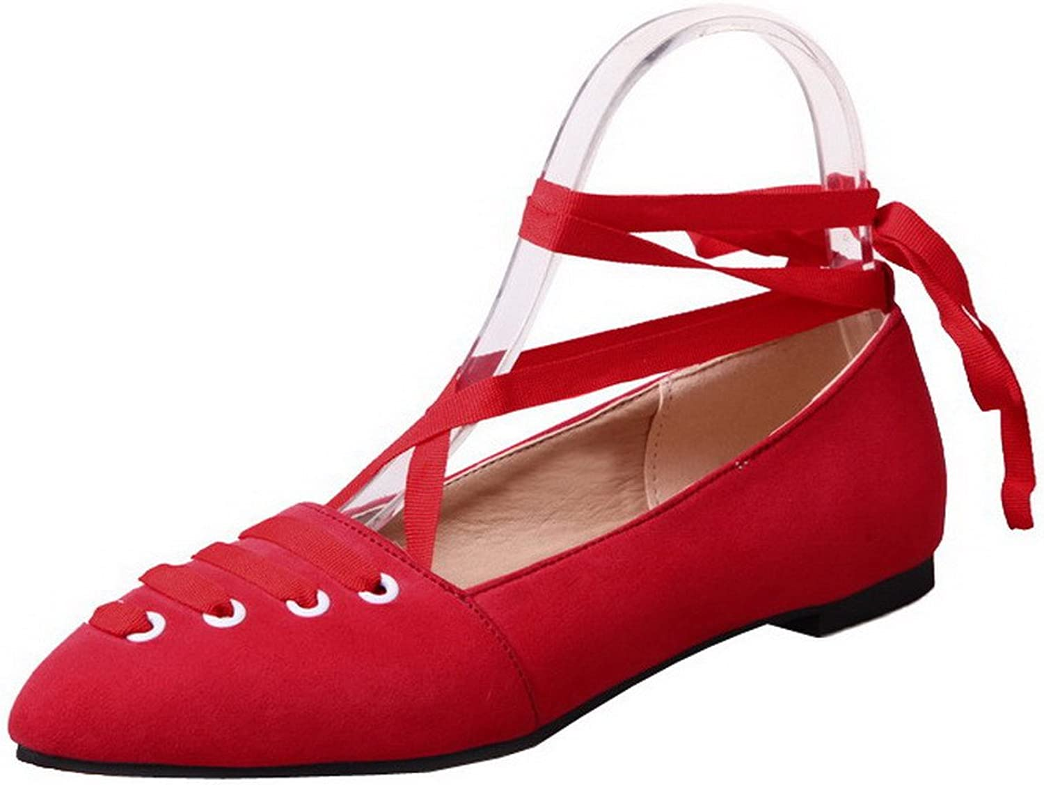 WeenFashion Women's Frosted Low-Heels Closed-Toe Solid Lace-up Pumps-shoes