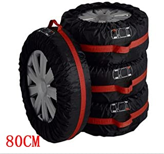 Ken-Tool Car Black Red 13-16'',17-20'' Automotive Spare Tire Tyre Wheel Cover with Carrying Handles Tote Car Wheel Protector Storage Bag (4PCS of Pack) (80cm)