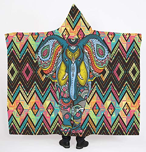 Manta con capucha, manta perezosa de impresión digital de invierno manta gruesa doble capa de felpa,F,150 * 200cm