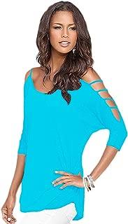 Afibi Women's Summer Cut Out Cold Shoulder T Shirt Blouse Tops
