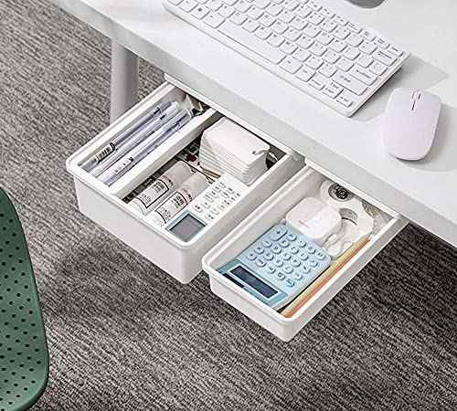 Cajón autoadhesivo debajo del escritorio, caja de almacenamiento de plástico para niños, sin perforación, organizador de bolígrafos de almacenamiento versátil, caja de almacenamiento de artículos