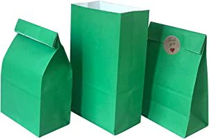 Party Favor Bag 50 pcs Food Safe Paper and Ink, Natural (Biodegradable), Vivid Colored Self-Stand Buffet Bags, Bottom Square Paper Treat Bag. with 60 pcs Stickers 1.5 inch. (Green Color)…