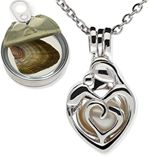 Pearlina Mother Child Silver Tone Cage Cultured Pearl in Oyster Necklace Set w/Stainless Steel Chain 18