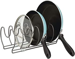 mDesign Pots and Pan Rack – Metal Wire Rack for Cookware Storage – Freestanding Pan Stand for Pans, Pots, Lids and Crocker...